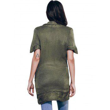 Shawl Collar Cable Knit Surplice Sweater Dress - ARMY GREEN M