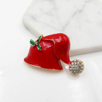 Rhinestone Christmas Cute Hat Brooch - RED
