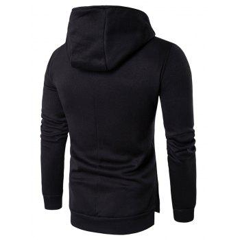 Kangaroo Pocket Side Split Asymmetrical Zip Hoodie - BLACK L