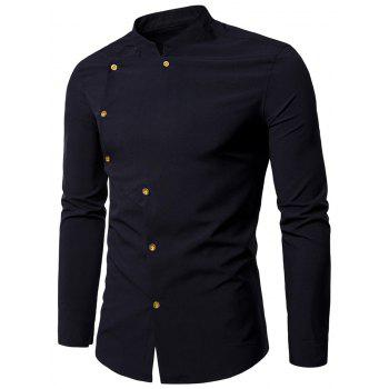 Asymmetrical Button Up Grandad Collar Shirt - BLACK BLACK