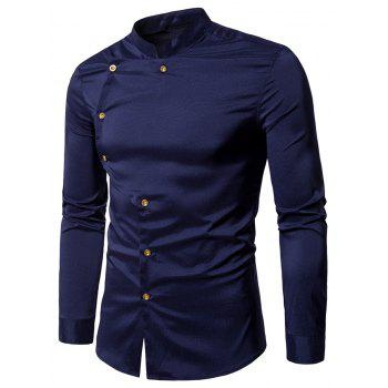 Asymmetrical Button Up Grandad Collar Shirt - PURPLISH BLUE PURPLISH BLUE