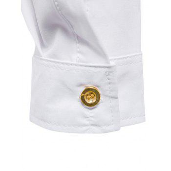 Asymmetrical Button Up Grandad Collar Shirt - WHITE L