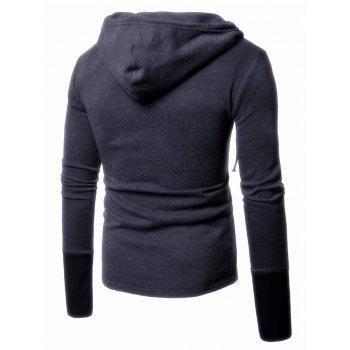 Panel Design Pullover Two Tone Hoodie - DEEP GRAY DEEP GRAY