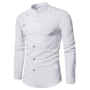 Asymmetrical Button Up Grandad Collar Shirt - WHITE WHITE