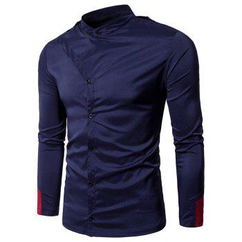 Grandad Collar Irregular Embellished Shirt - PURPLISH BLUE PURPLISH BLUE