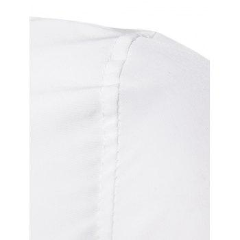 Long Sleeve Covered Botton Panel Design Shirt - WHITE 2XL