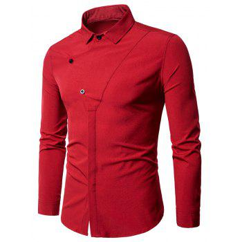Long Sleeve Covered Botton Panel Design Shirt - RED RED