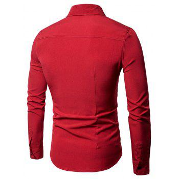 Long Sleeve Covered Botton Panel Design Shirt - RED M