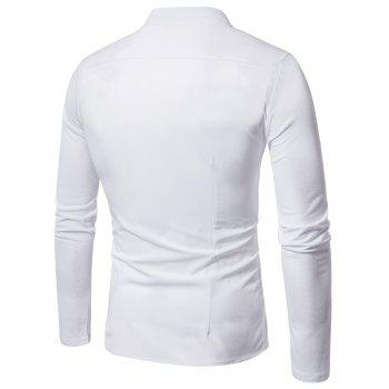 Mandarin Collar Button and Zipper Shirt - WHITE XL