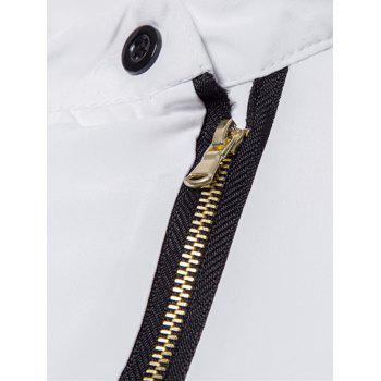 Mandarin Collar Button and Zipper Shirt - WHITE WHITE