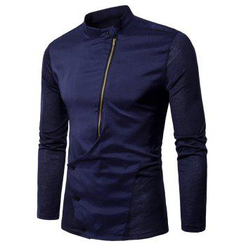 Mandarin Collar Button and Zipper Shirt - PURPLISH BLUE PURPLISH BLUE