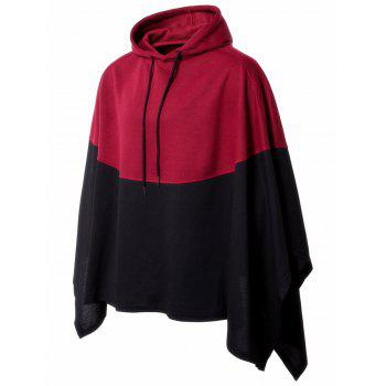 Asymmetrical Hooded Two Tone Pullover Handkerchief Cape - RED RED