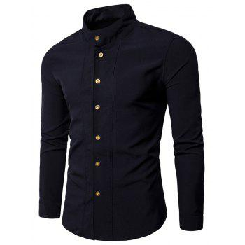 Casual Long Sleeve Stand Collar Shirt - BLACK BLACK
