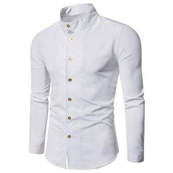 Casual Long Sleeve Stand Collar Shirt - WHITE WHITE