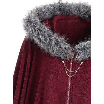 Faux Fur Trim Asymmetric Plus Size Cape Coat - WINE RED 5XL