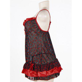 Cherry Print Sheer Slip Plus Size Babydoll - BLACK/RED 2XL