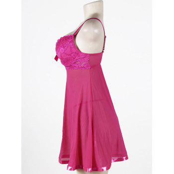 Mesh Slip Plus Size Voir à travers Babydoll - rose XL