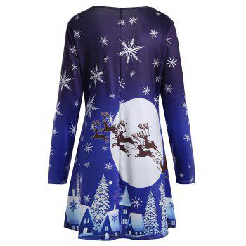 Christmas Moon Snowflake Sled Print Plus Size T Shirt Dress - BLUE XL