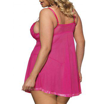 Mesh Slip Plus Size See Thru Babydoll - ROSE RED 4XL
