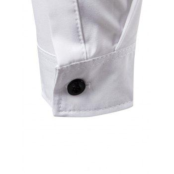 Long Sleeve Layered Double Breasted Shirt - WHITE L