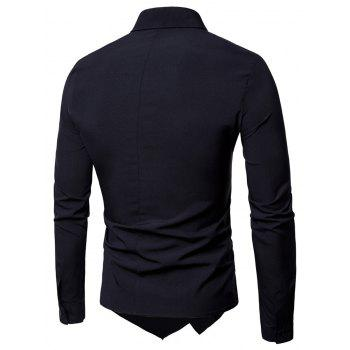Long Sleeve Layered Double Breasted Shirt - BLACK L