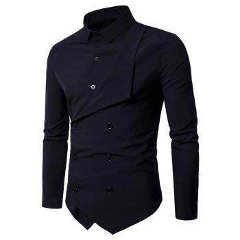 Long Sleeve Layered Double Breasted Shirt - BLACK BLACK