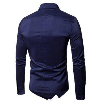 Long Sleeve Layered Double Breasted Shirt - PURPLISH BLUE PURPLISH BLUE