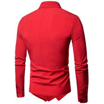 Long Sleeve Layered Double Breasted Shirt - RED M