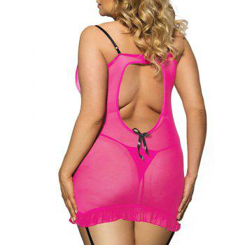 Plus Size Cut Out Slip Garter Babydoll - ROSE RED ROSE RED