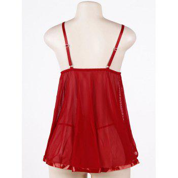 Mesh Sequined Plus Size Slip Babydoll - RED XL