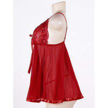 Mesh Sequined Plus Size Slip Babydoll - RED 3XL