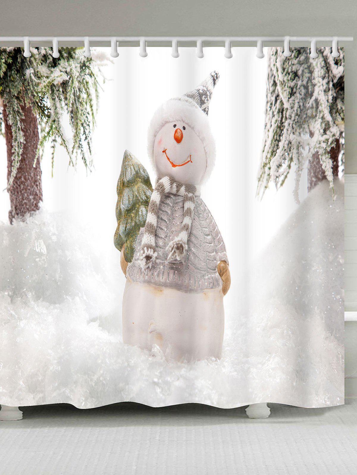 Snowy Christmas Snowman Patterned Shower Bath Curtain waterproof snowman printed bath christmas shower curtain