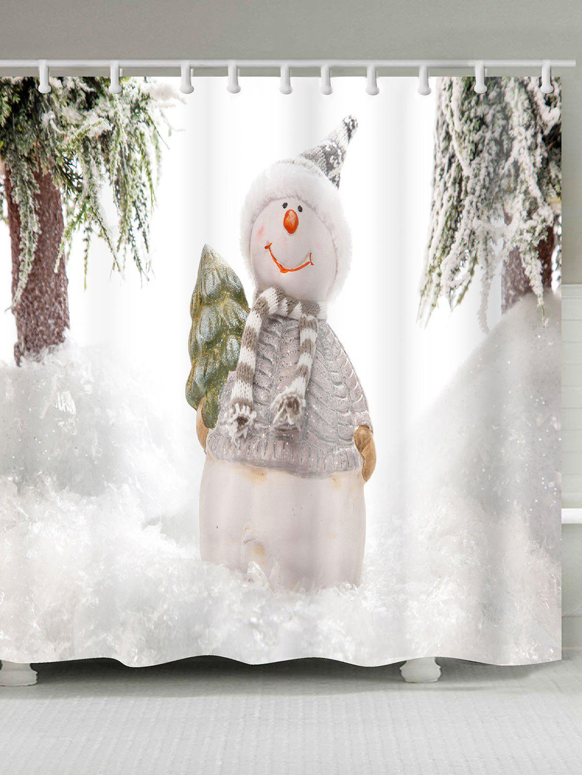 2018 snowy christmas snowman patterned shower bath curtain white w inch l inch in shower. Black Bedroom Furniture Sets. Home Design Ideas