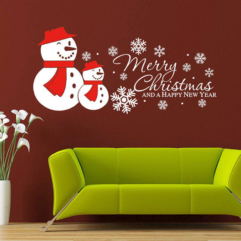 Christmas Snowmen Snowflake Pattern Wall Art Sticker - WHITE