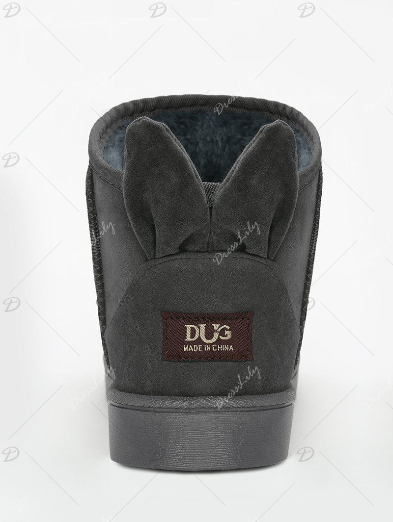 Rabbit Ear Embellished Badge Snow Boots - GRAY 36