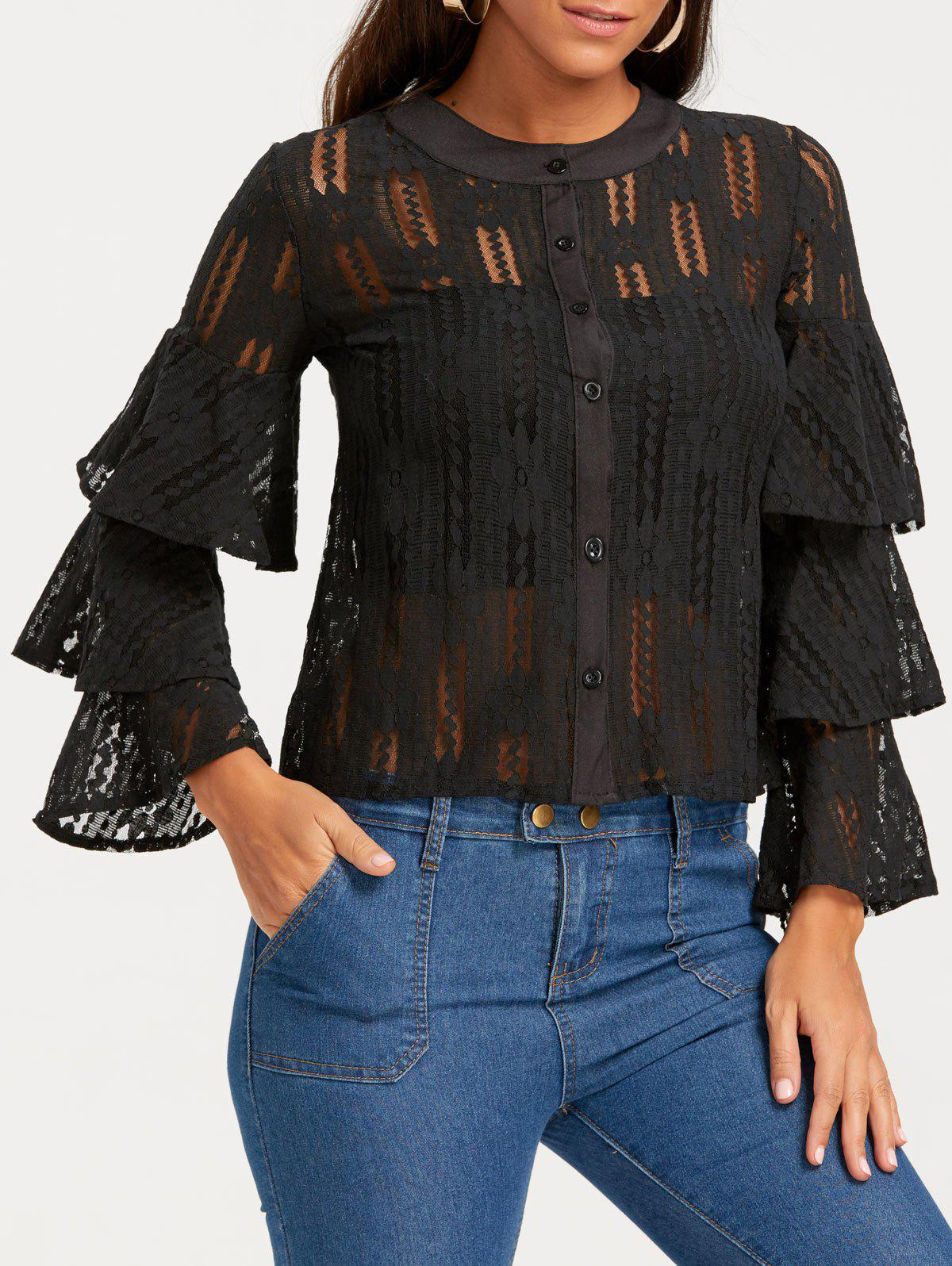 Bell Sleeve Single Breasted See Through Lace Blouse - BLACK M