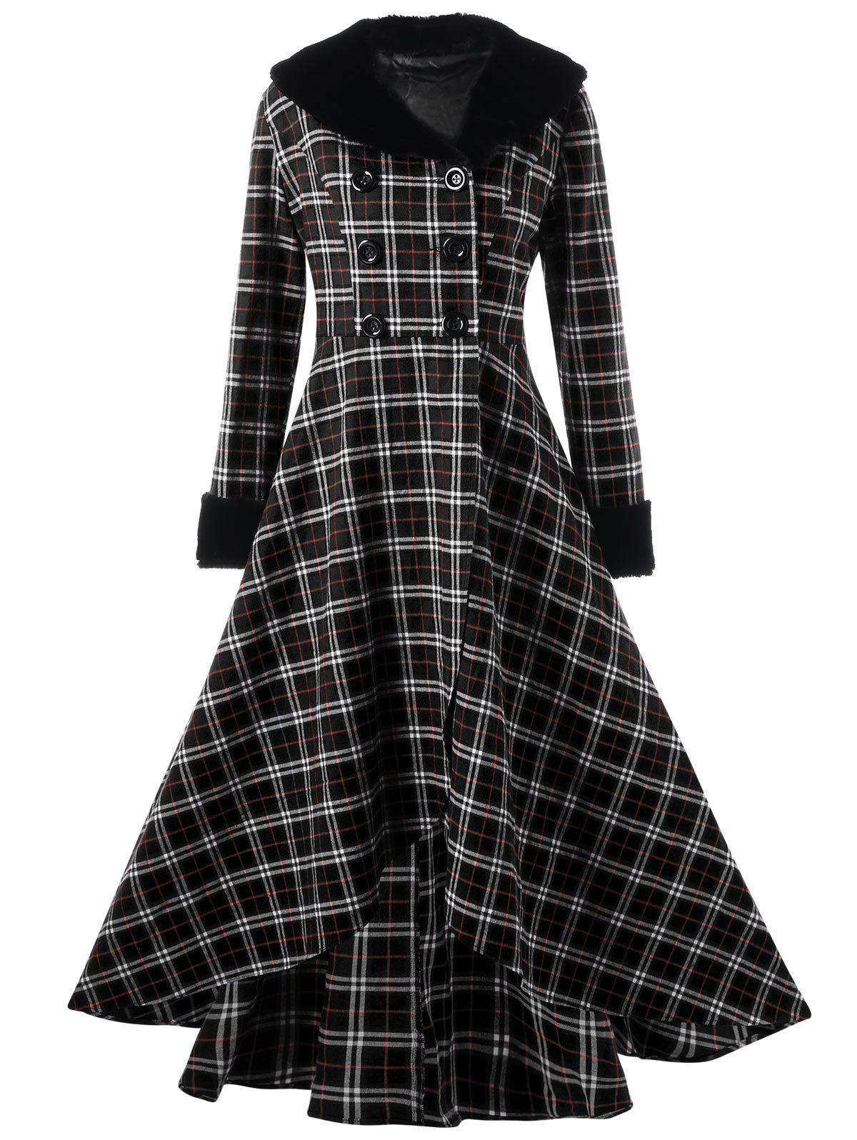 Plus Size Double Breasted Plaid Swing Coat plus size double breasted plaid swing coat