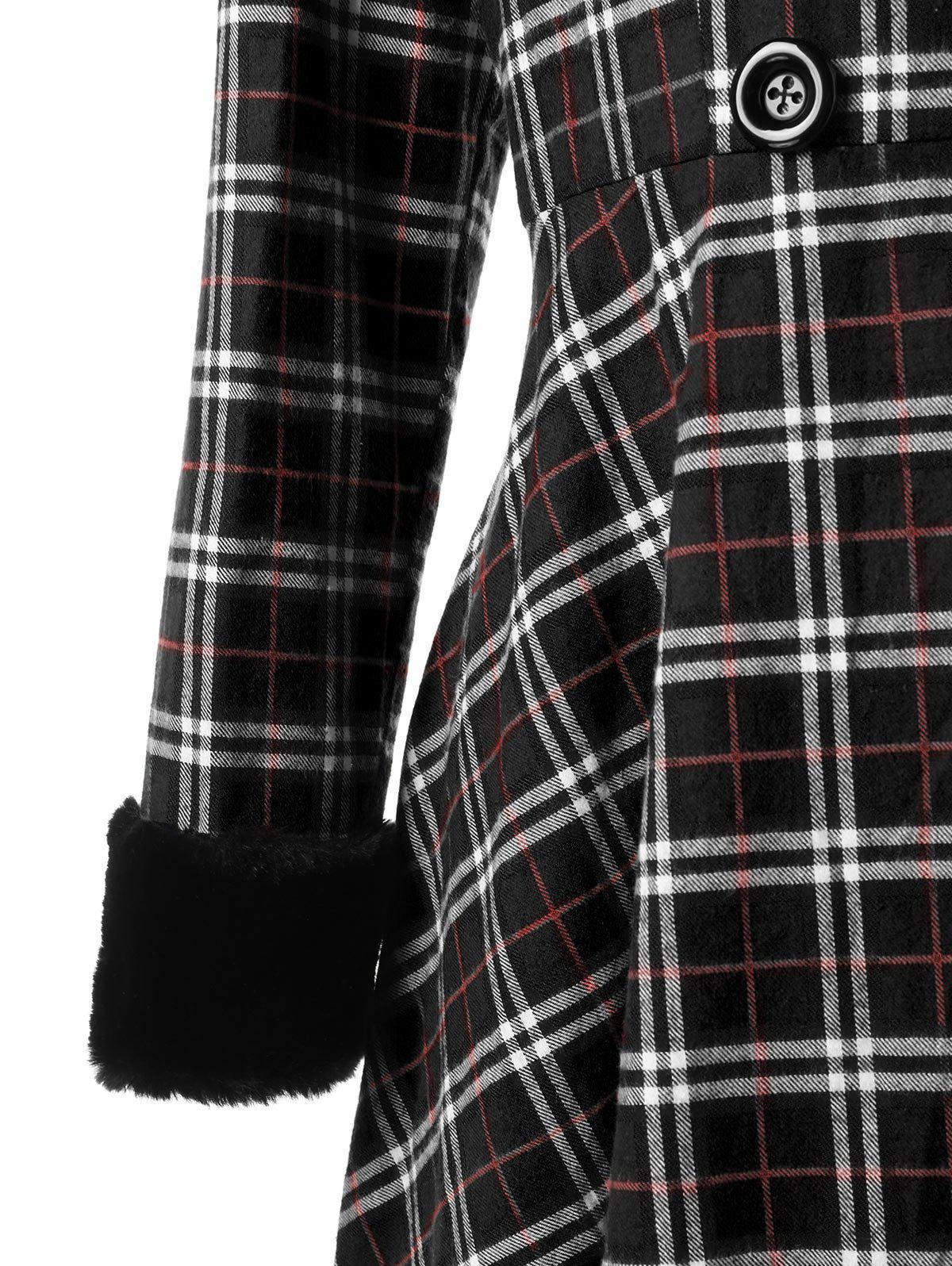 Plus Size Double Breasted Plaid Swing Coat - BLACK 5XL