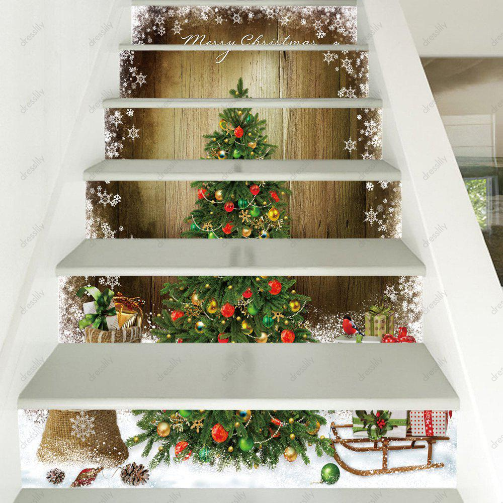 100 Awesome Christmas Stairs Decoration Ideas: [64% OFF] 2019 Christmas Tree Woodgrain Pattern Stair