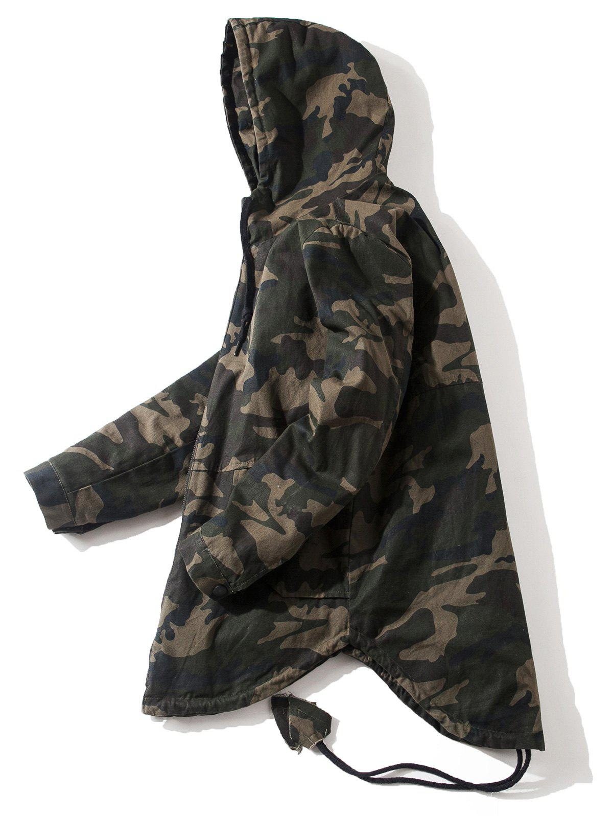 Drawstring High Low Hem Hooded Camouflage Jacket high low drawstring hooded knitwear