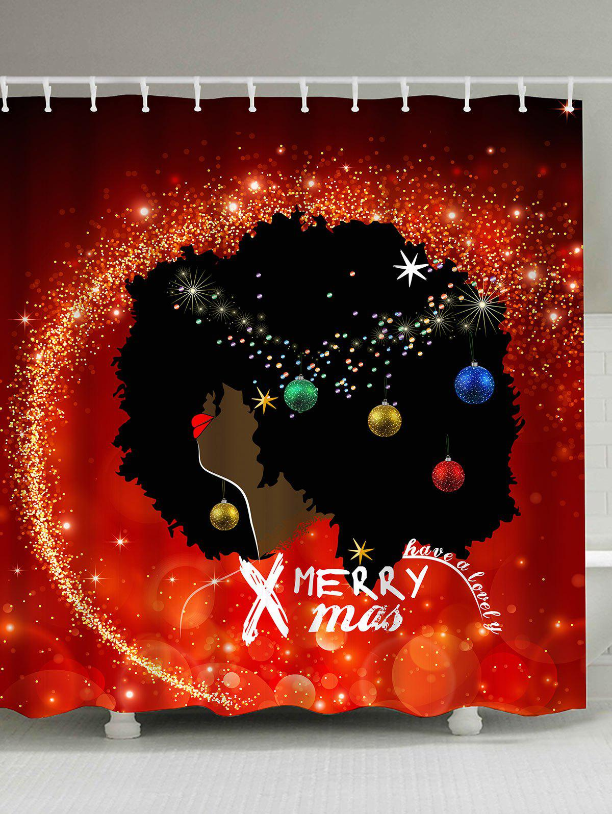 Christmas Afro Hair Girl Baubles Print Waterproof Shower Curtain christmas pine baubles print fabric waterproof shower curtain