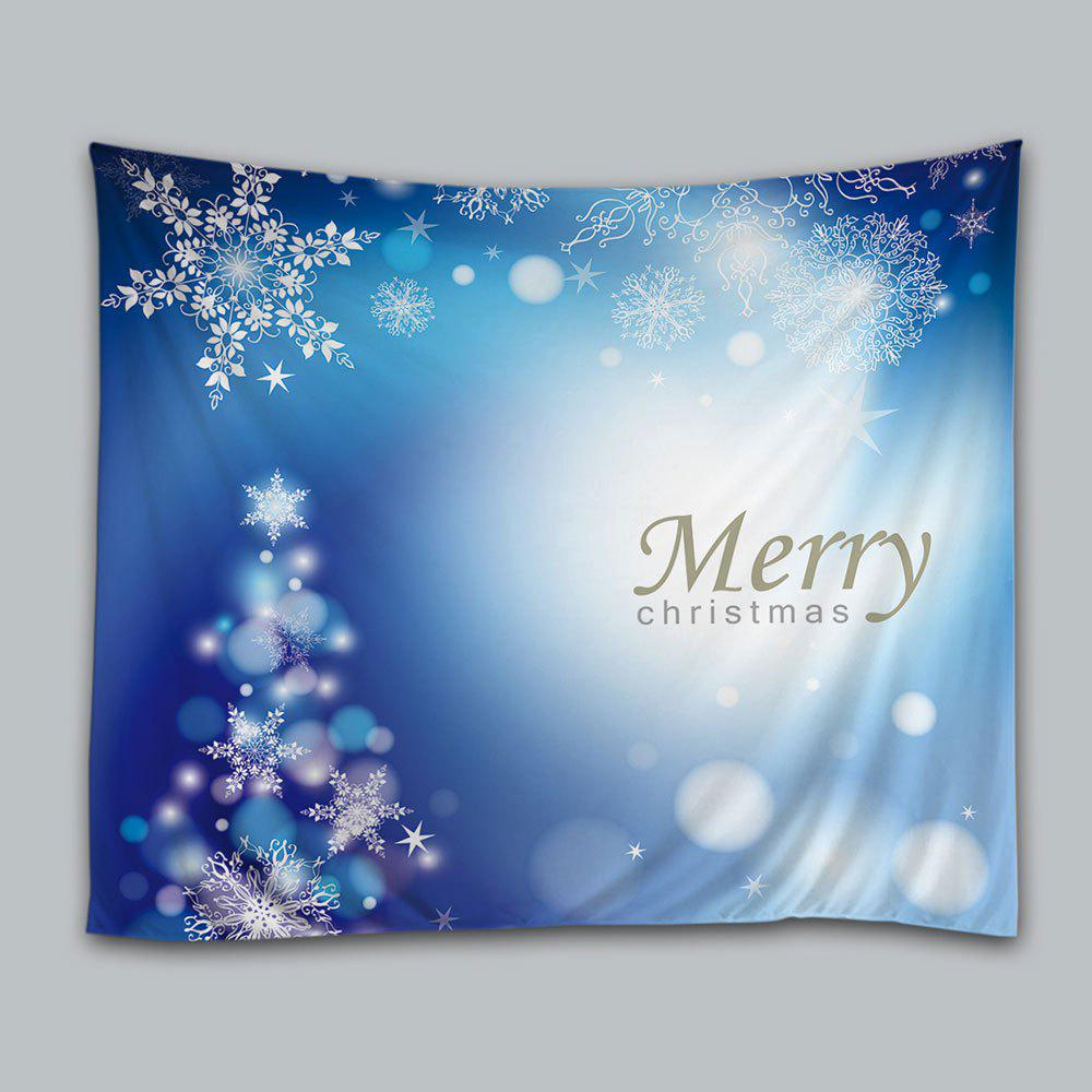 Merry Christmas Snowflakes Print Tapestry Wall Hanging Art Decor - BLUE W91 INCH * L71 INCH