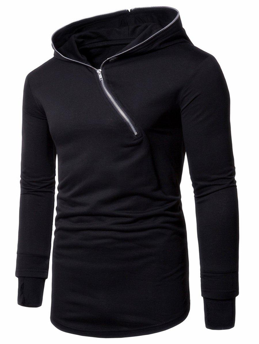 Asymmetric Half Zip Up Pullover Long Hoodie - BLACK 2XL