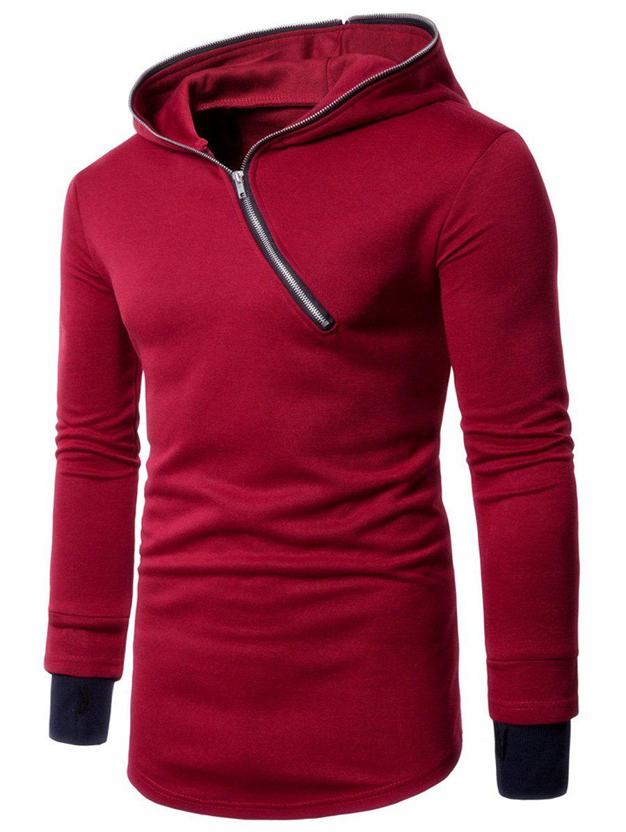 Asymmetric Half Zip Up Pullover Long Hoodie - RED 2XL