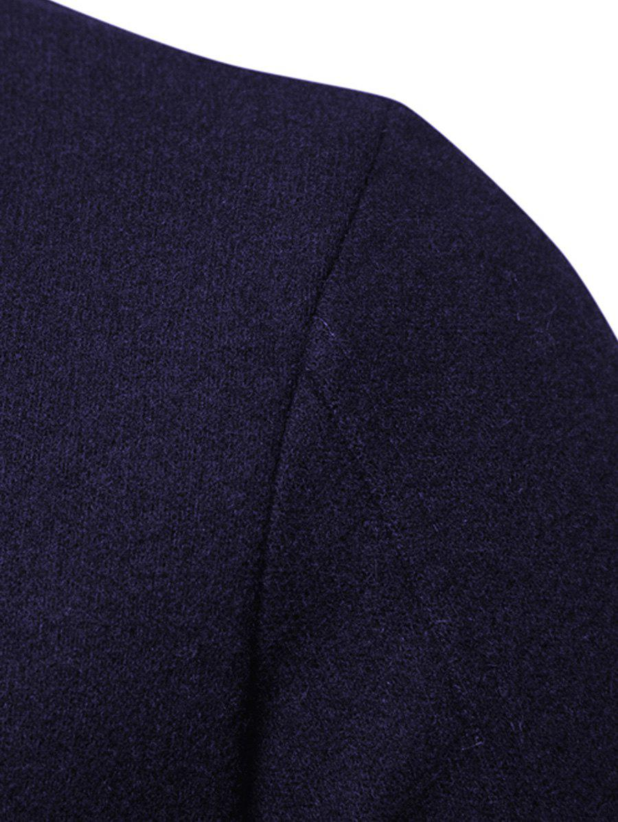 PU Panel Zip Up Asymmetrical Coat - PURPLISH BLUE L