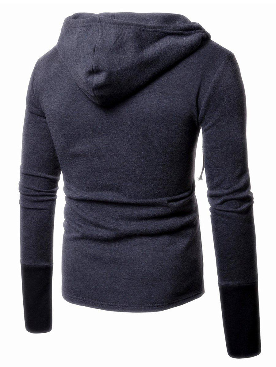 Panel Design Pullover Two Tone Hoodie - DEEP GRAY M