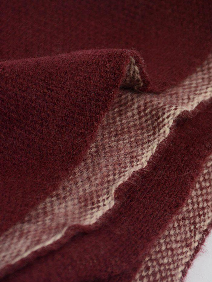 Outdoor Pineapple Decorated Faux Wool Long Scarf - CLARET ONE SIZE