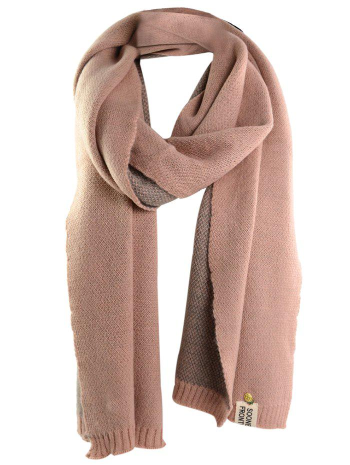 Outdoor Pineapple Decorated Faux Wool Long Scarf - PINK ONE SIZE