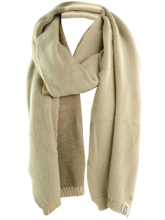 Outdoor Pineapple Decorated Faux Wool Long Scarf - BEIGE ONE SIZE