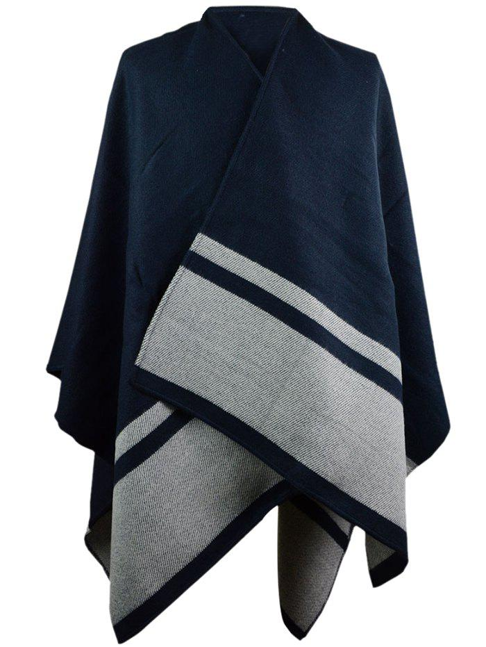 Vintage Herringbone Pattern Artificial Wool Shawl Scarf - CADETBLUE ONE SIZE